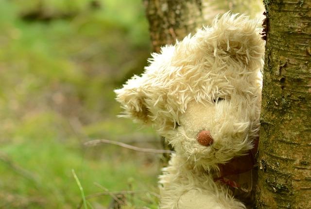 plyšový medvěd za stromem