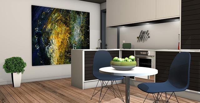 prkenná podlaha v kuchyni a jídelně