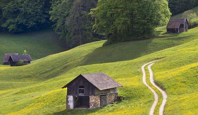 Dřevěná chatička v přírodě